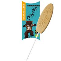 """Детский карамельный шоколад на палочке с медово-карамельными чипсами """"Карамельный мишка"""", Zotter, 20 г"""