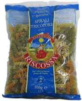Макаронные изделия трехцветные со шпинатом и помидорами Спирали триколор №112 Riscossa, 500 г