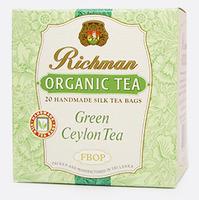 Зеленый цейлонский органический среднелистовой чай с фруктовыми добавками FBOP Richman,20 пакетиков