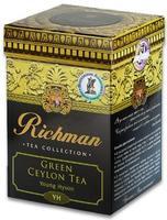 Зеленый цейлонский органический крупнослистовой чай YoungHyson Richman,20 пакетиков